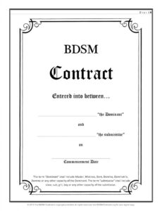 bdsm contract submissive contract template sample