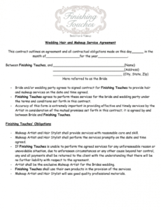 editable makeup agreement form  fill online printable fillable wedding hair stylist contract template excel