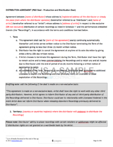 editable music distribution contract music production deal contract template example