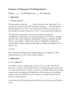 free bdsm contract  fill online printable fillable blank submissive contract template sample