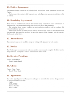 free contracts  interior design contract template template interior decorating contract template excel