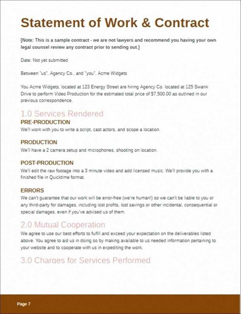 free statement of work template video production ~ addictionary freelance video editing contract template example
