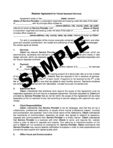 free virtual assistant retainer agreement sample  fill out and sign printable  pdf template  signnow administrative assistant contract template excel