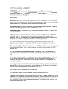 printable artist management contract 2020 pdf  fill online printable artist development contract template word