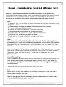 printable bdsm masterslave contract submissive contract template pdf