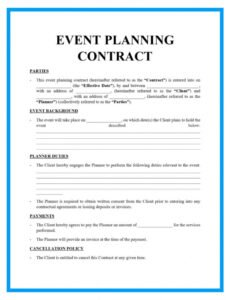 printable free downloadable event planning contract template event management contract template pdf