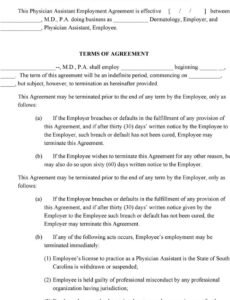 printable physician assistant employment agreement terms of agreement physician assistant employment contract template sample