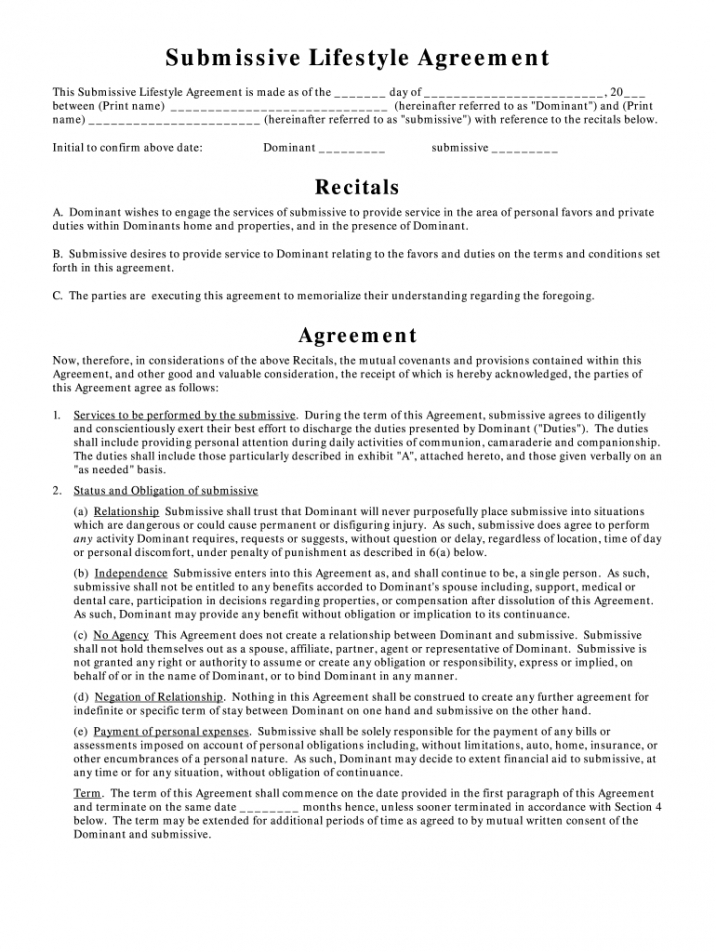 sample bdsm contract  fill online printable fillable blank submissive contract template example