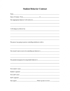 sample behavior contract  fill out and sign printable pdf template  signnow behavior contract template for elementary students example