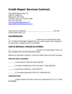 sample credit repair forms pdf  fill online printable fillable credit repair contract template pdf