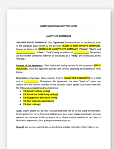 sample hair stylist contract template wedding hair stylist contract template pdf