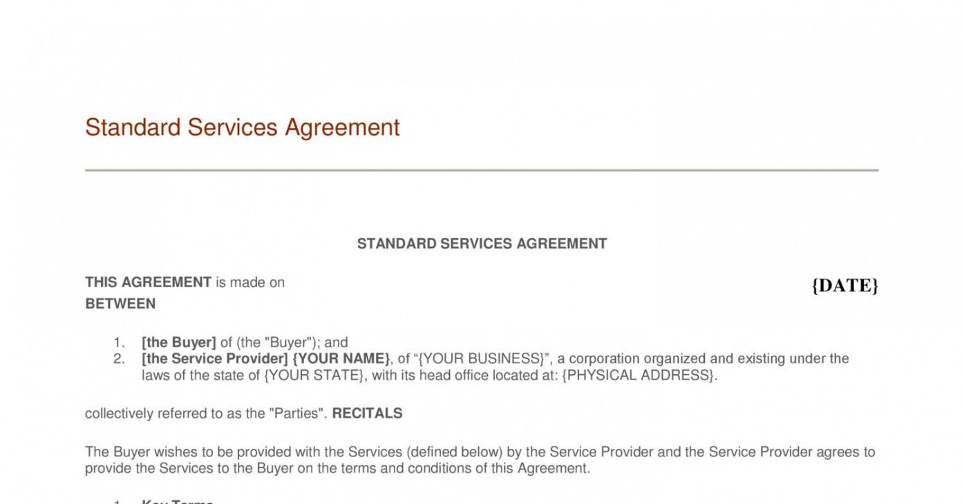 sample  managed service agreement  template  genericized managed service provider contract template