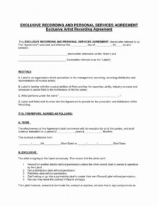 sample record label contract template ~ addictionary independent record label contract template pdf