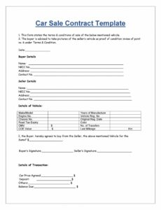 42 printable vehicle purchase agreement templates  templatelab car sale contract with payments template sample