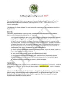 6 bookkeeping contract templates  pdf word  free accounting services contract template doc