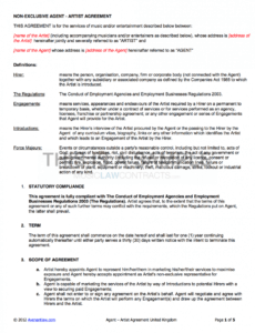 agency  artist contract uk use only performing artist contract template sample