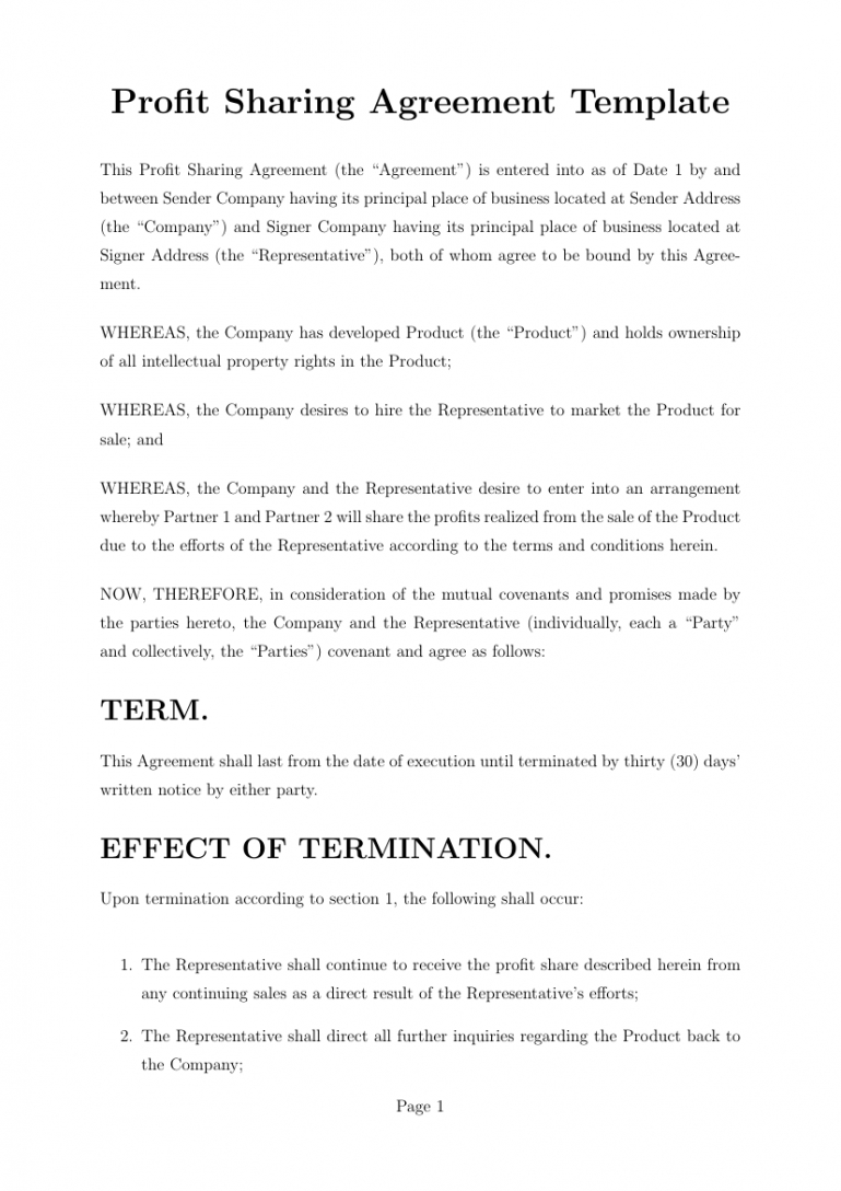 agreements  profit sharing agreement template template revenue sharing contract template