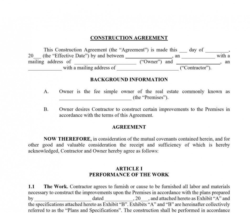 construction contract template  approveme  free contract home building contract template pdf