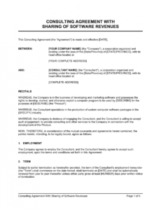 consulting agreement with sharing of software revenues revenue sharing contract template excel