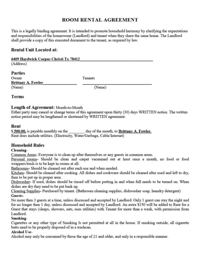 Editable 39 Simple Room Rental Agreement Templates  Templatearchive Rent A Room Contract Template Doc