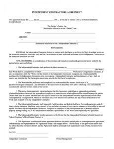 editable 50 free independent contractor agreement forms & templates no self harm contract template sample