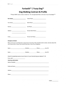 editable dog walking contract  fill online printable fillable pet care contract template example