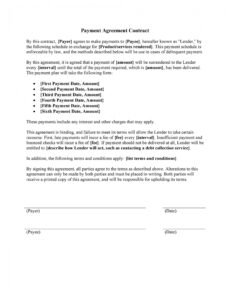 editable payment agreement  40 templates & contracts  templatelab down payment contract template pdf