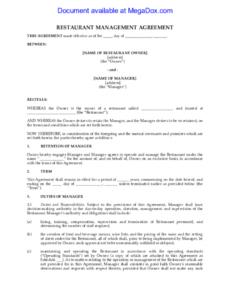 editable restaurant management contract  fill online printable restaurant management contract template