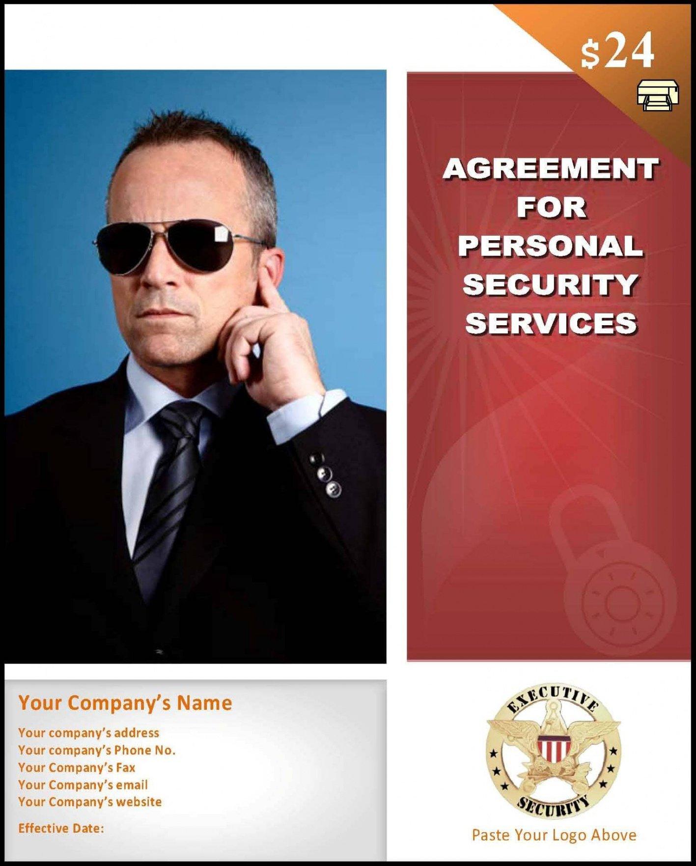 editable sample bodyguard services contract template security service contract template sample