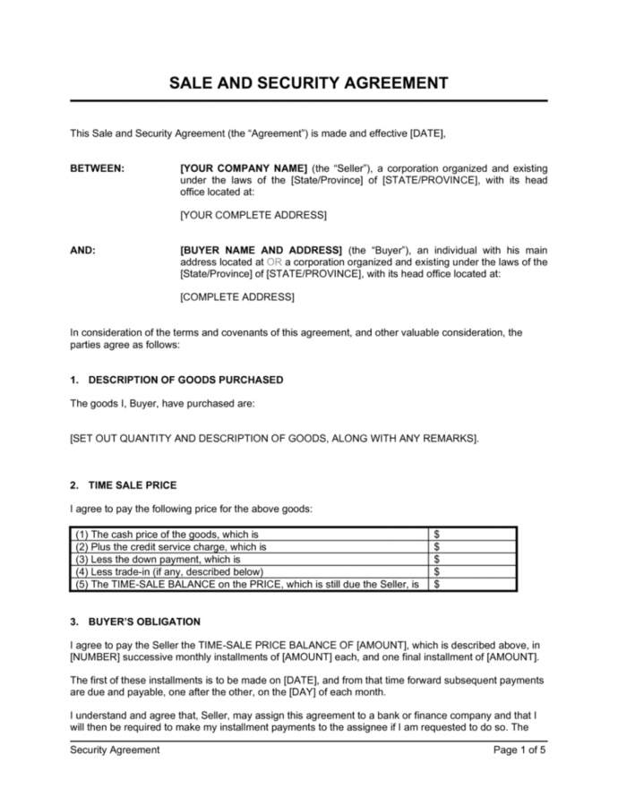 Editable Security Agreement Covering Consumer Goods Template  By Security Service Contract Template Word