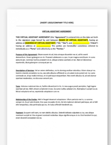 editable virtual assistant contract template personal assistant contract template word