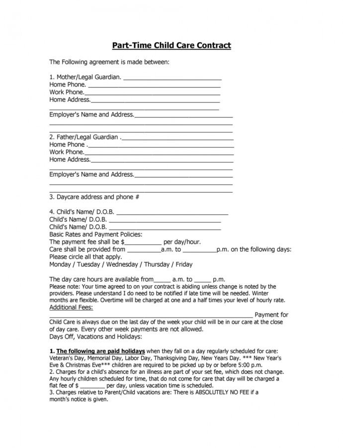Free 50 Daycare Child Care & Babysitting Contract Templates Part Time Nanny Contract Template PDF