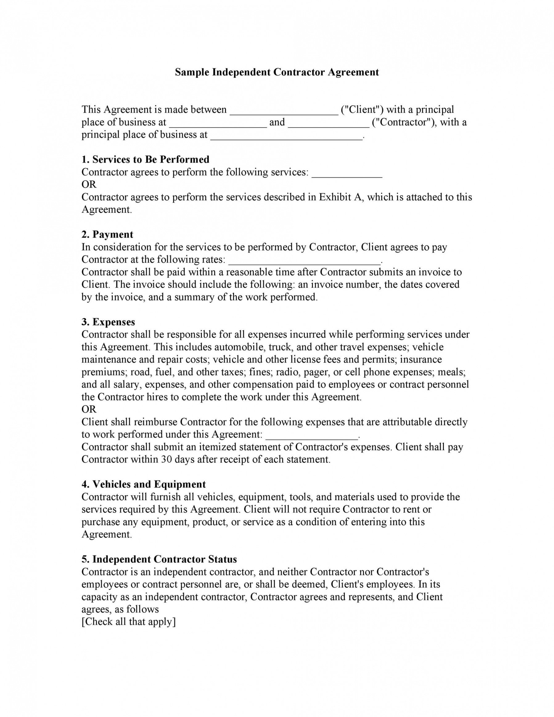 free 50 free independent contractor agreement forms & templates self employed contract template pdf