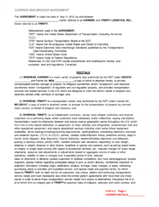 free broker carrier agreement  fill out and sign printable pdf template   signnow freight broker contract template excel