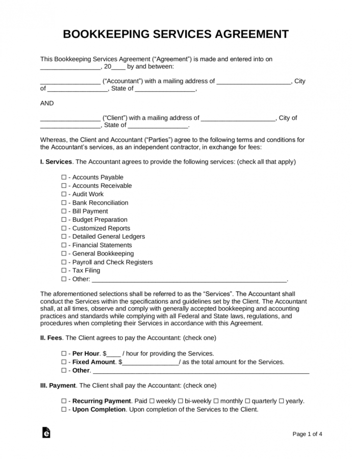 free free bookkeeping accounting services agreement  pdf accounting services contract template sample