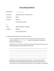 free free printable service agreements  printable agreements accounting services contract template