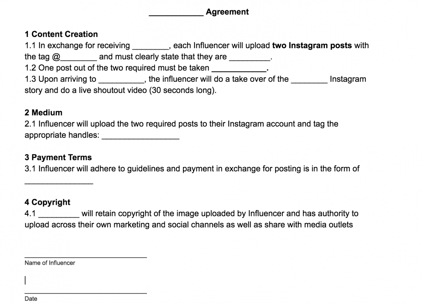 free influencerblogger agreement template free download  by blogger contract template pdf