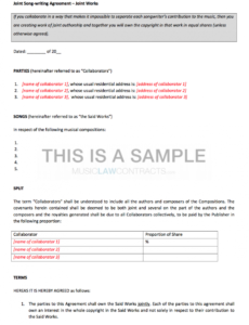 free joint songwriting contracts x2 songwriting contract template example