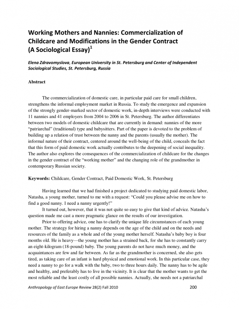 free pdf working mothers and nannies commercialization of part time nanny contract template pdf