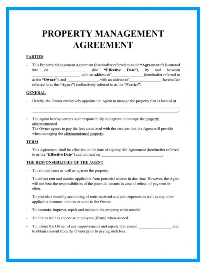 free property management agreement form and template property maintenance contract template pdf