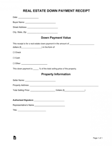 free real estate downpayment receipt  word  pdf  eforms down payment contract template