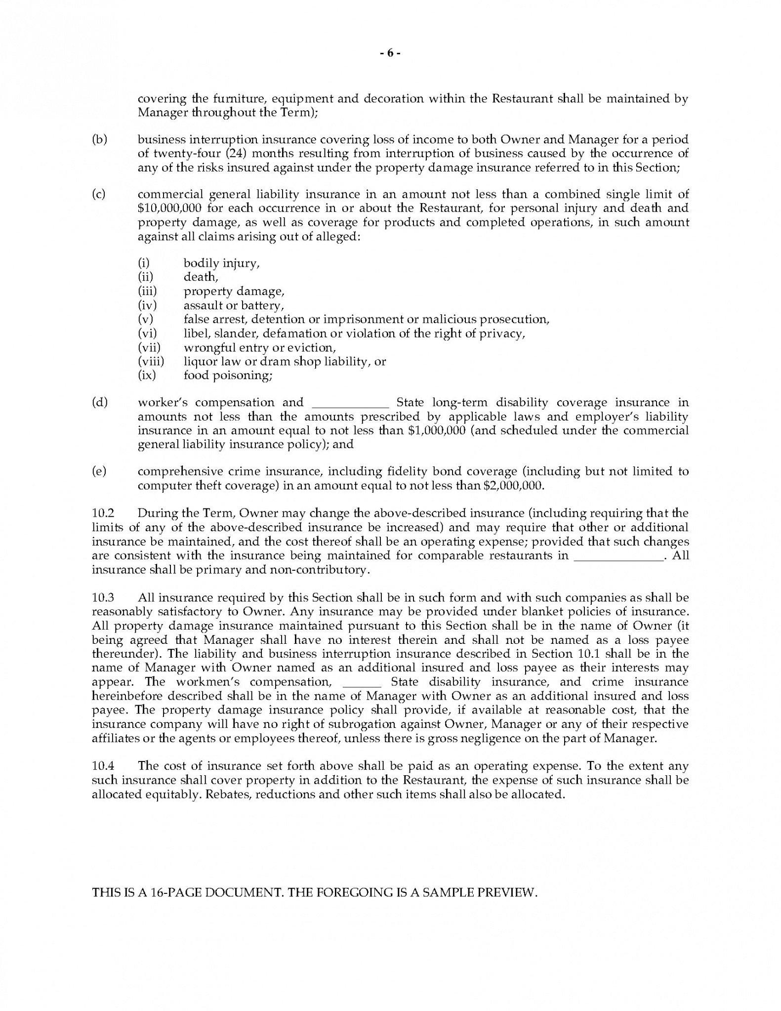 free restaurant management agreement restaurant management contract template sample