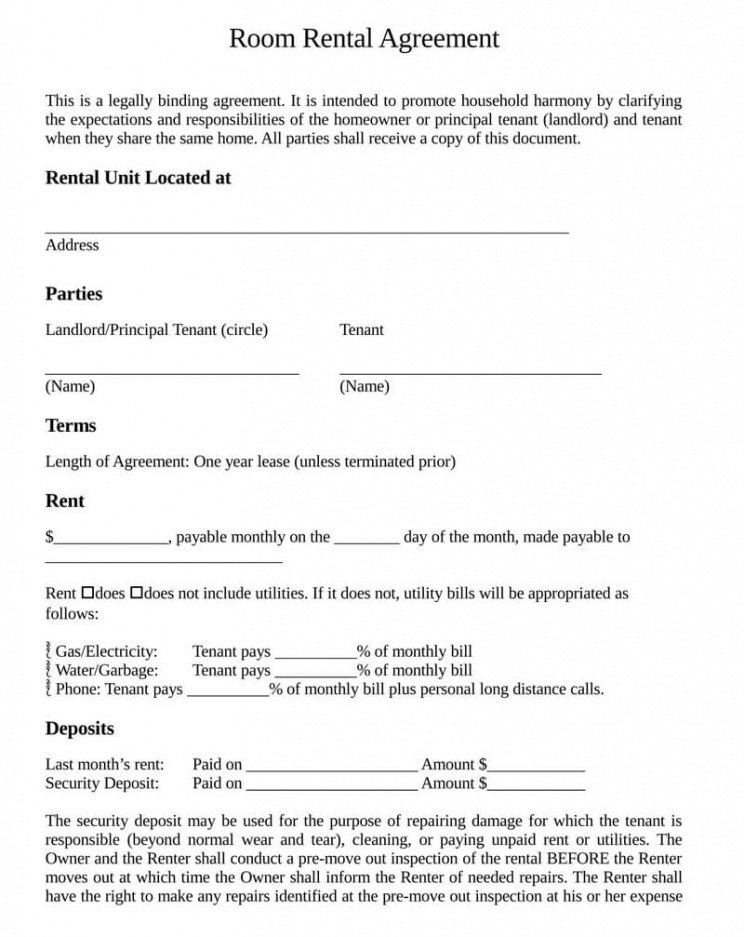 free roommate room rental agreement templates by state rent a room contract template example