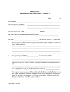 free simple home repair contract template  fill online home renovation contract template sample
