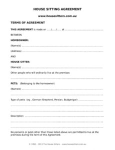 house sitting agreement  fill out and sign printable pdf template  signnow dog sitting contract template sample