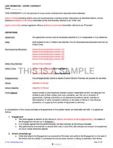 live promoter  artist contract performing artist contract template word