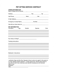 pet agreement form  fill out and sign printable pdf template  signnow pet care contract template excel