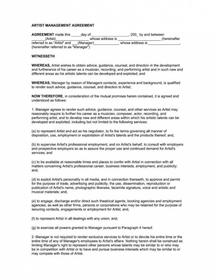 Printable Artist Management Contract 2020  Fill Out And Sign Printable Pdf Template   Signnow Artist Manager Contract Template Sample