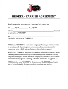 printable broker carrier agreement template  fill out and sign printable pdf  template  signnow freight broker contract template sample