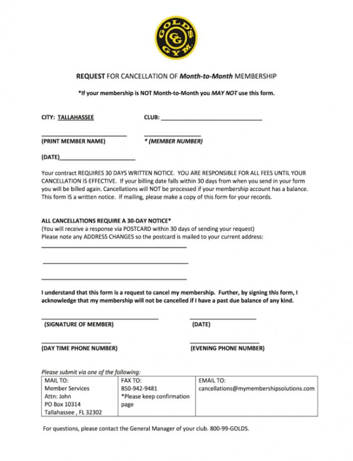 Printable Cancel Gold's Gym Membership  Fill Out And Sign Printable Pdf Template   Signnow Gym Membership Contract Template PDF